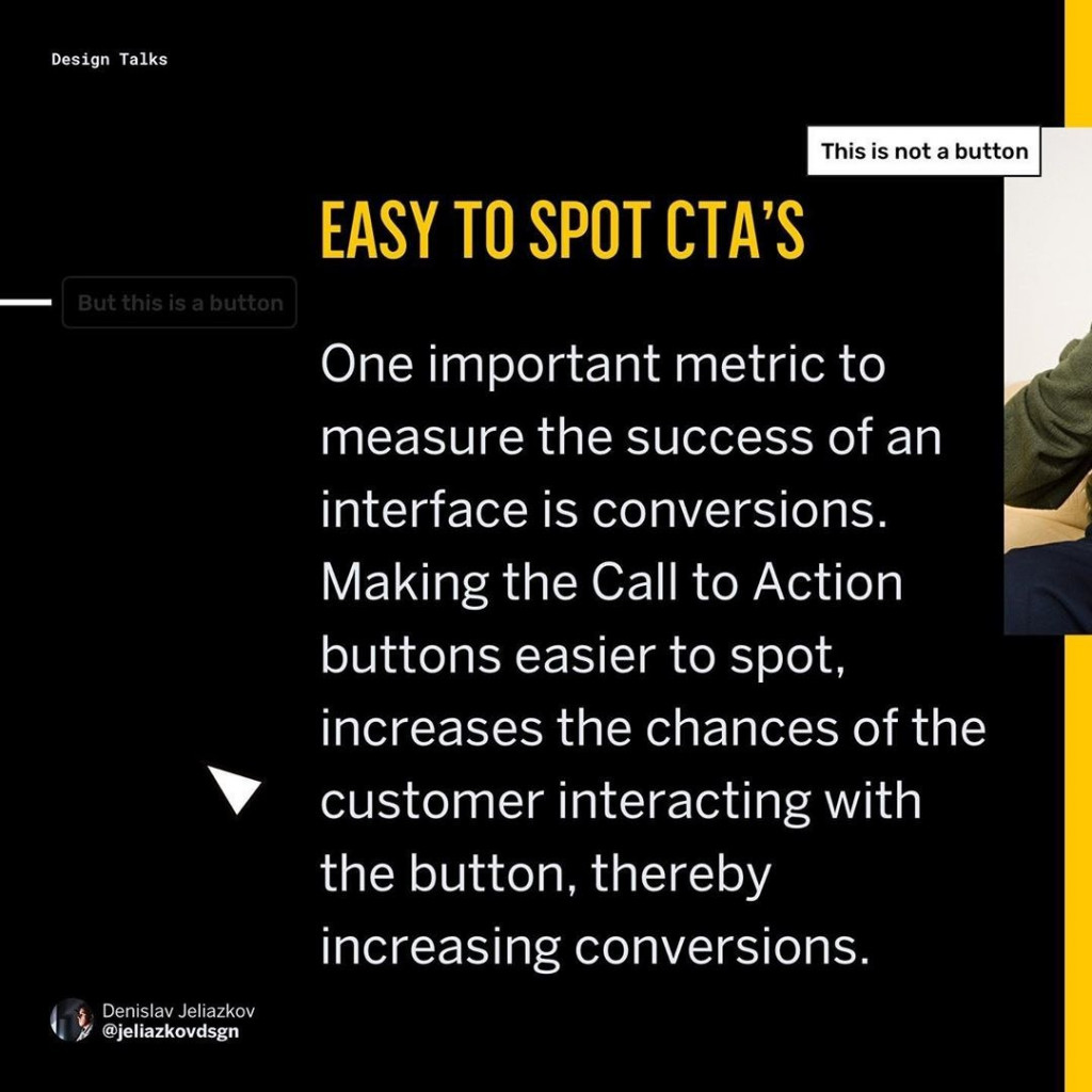 ☑️Easy to spot CTA's ⠀ One important metric to measure the success of an interface is conversions. Making the Call to Action buttons easier to spot, increases the chances of the customer interacting with the button, thereby increasing conversions.