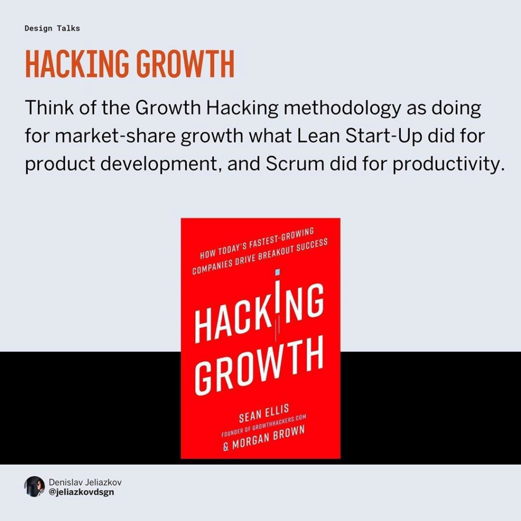 Hacking growth  Think of the Growth Hacking methodology as doing for market-share growth what Lean Start-Up did for product development, and Scrum did for productivity.
