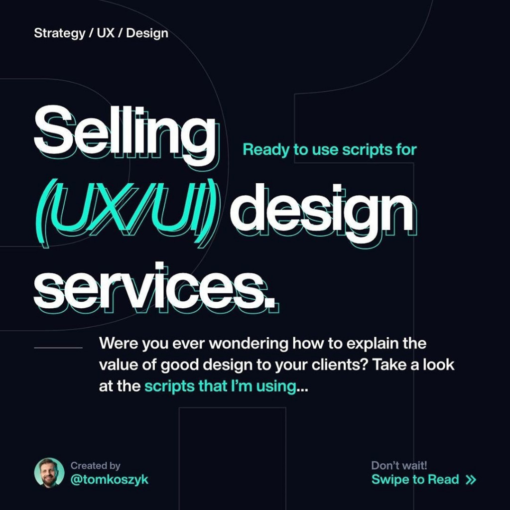 Selling (UI/UX) Design Service  Were you ever wondering how to explain the value of good design to your clients? Take a look at the scripts that i'm using...