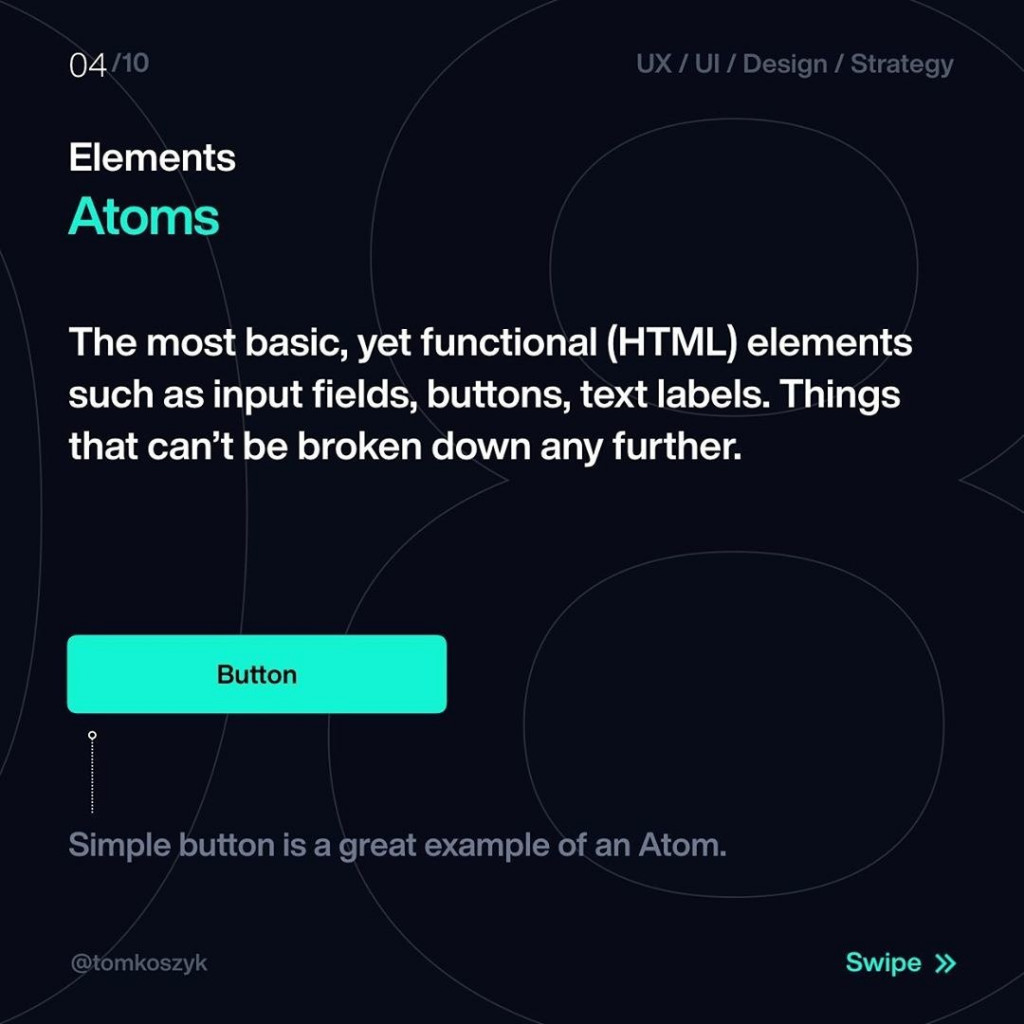 Elements  Atoms  The most basic, yet functional (HTML) elements such as input fields, buttons, text labels. Things that can't be broken down any further.
