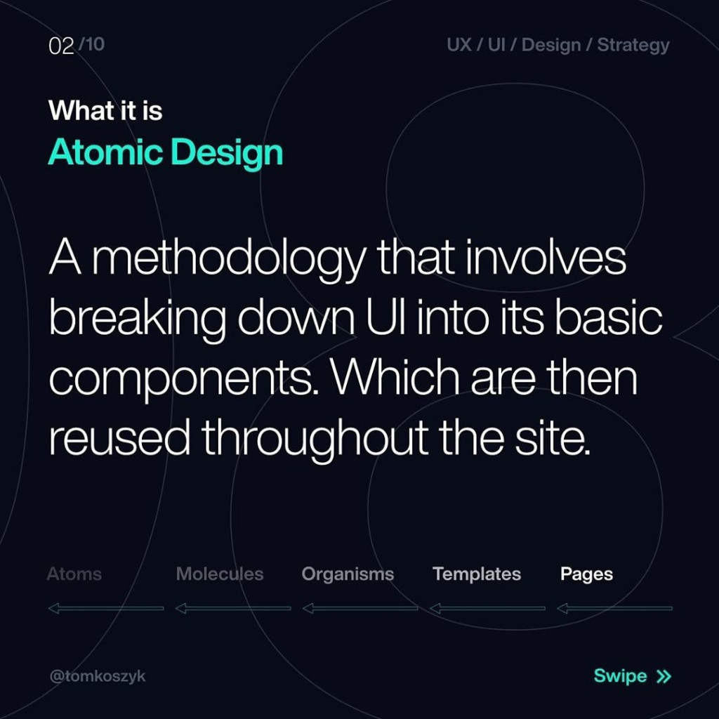 What it is Atomic Design  A methodolocy that involves breaking down UI into its basic components. Which are then reused throughout the site.  Atoms