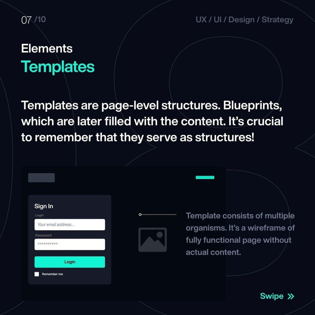 Elements  Templates  Templates are page-level structures. Blueprints, which are later filled with the content. It's crucial to remember that they serve as structures!