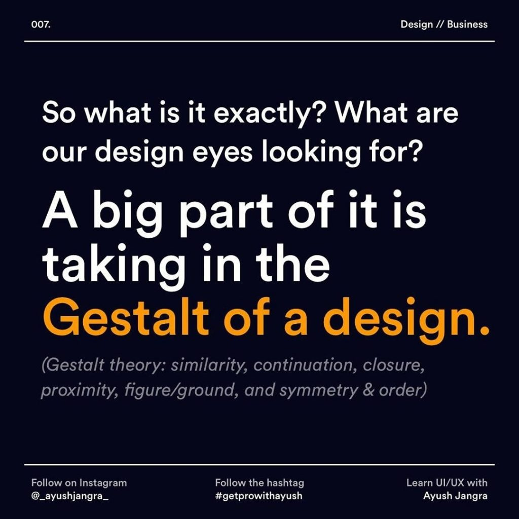 So what is it exactly? What are our design eyes looking for?  A big part of it is taking in the Gestalt ot a design.  (Gestalt theory: similarity, continuation, closure, proximity, figure/ground, and symmetry & order)