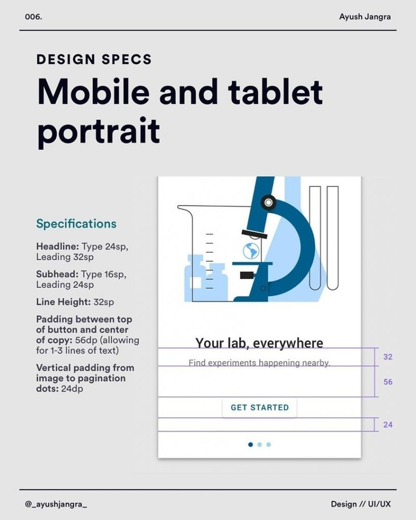 Mobile and tablet portrait  Specifications  Headline: Type 24sp, Leading 32sp Subhead: Type 16sp, Leading 24sp  Line Height: 32sp Padding between top of button and center of copy: 56dp (allowing for 1-3 lines of text)  Vertical padding from image to pagination dots: 24dp