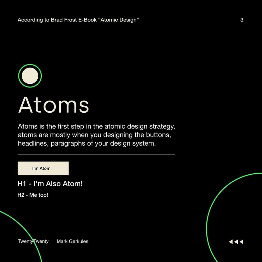 Atoms  Atoms is the first step in the atomic design strategy, atoms are mostly when you designing the buttons, headlines, paragraphs of your design system.