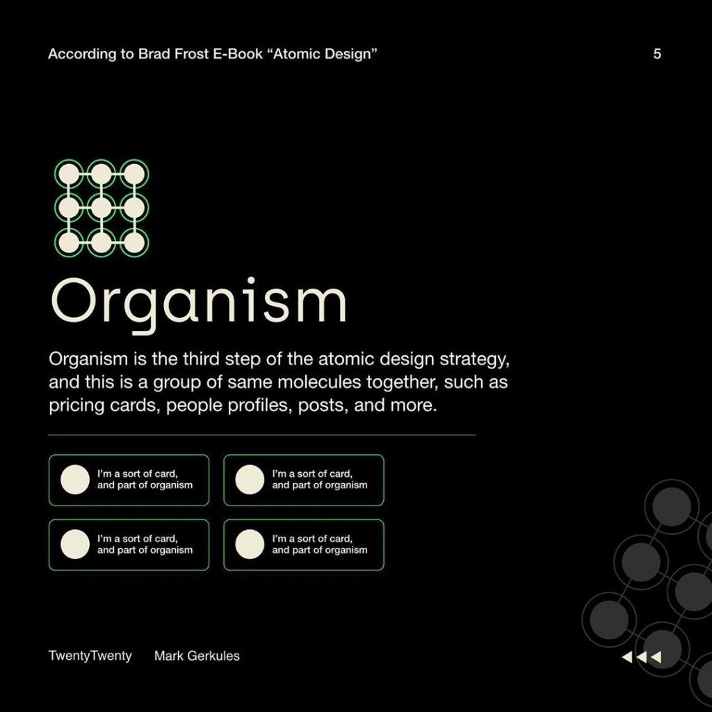 Organism  Organism is the third step of the atomic design strategy, and this is a group of same molecules together, such as pricing cards, people profiles, posts, and more.