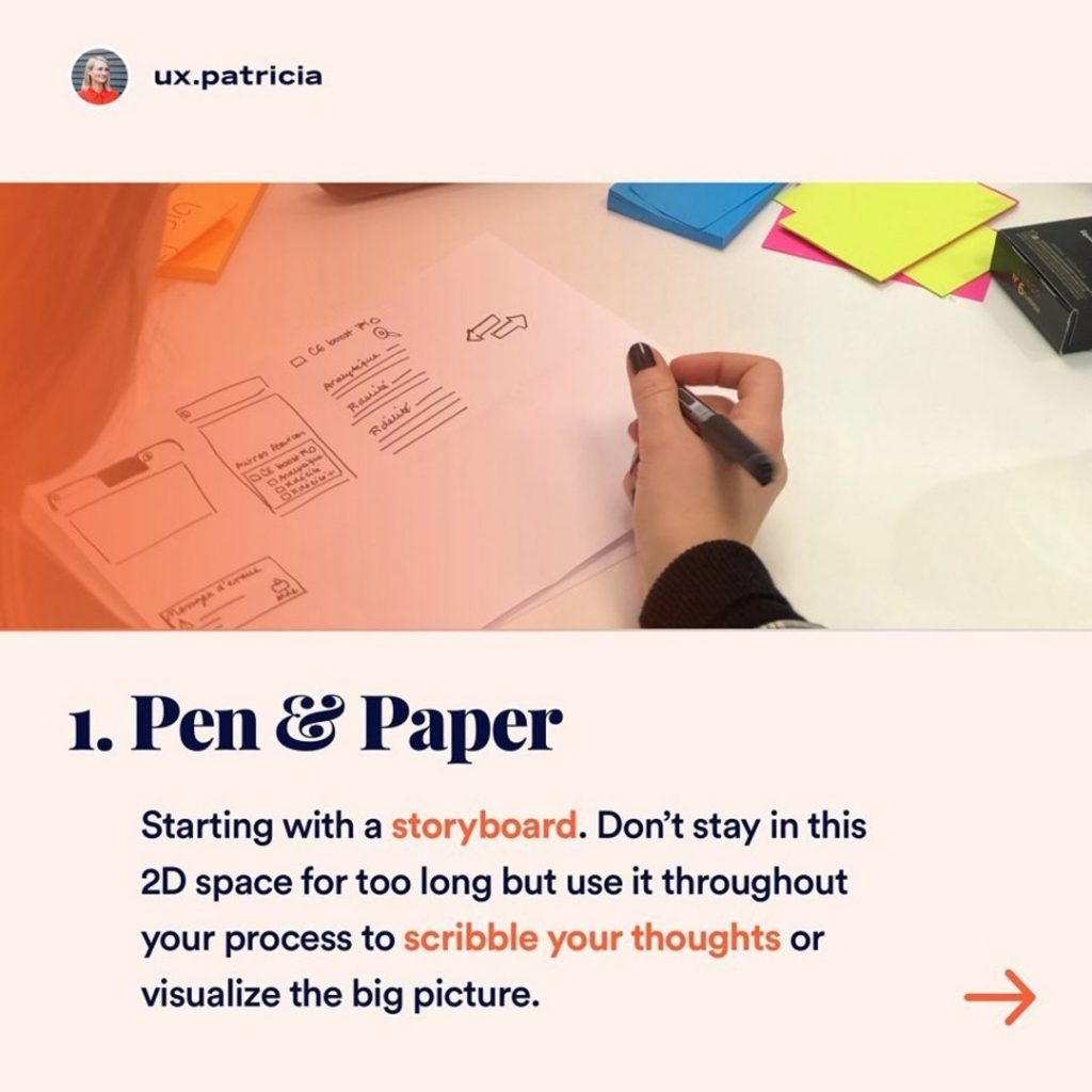 1️⃣ PEN & PAPER ⠀ Starting with a storyboard. Don't stay in this 2D space for too long but use it throughout your process to scribble your thoughts or visualize the big picture.