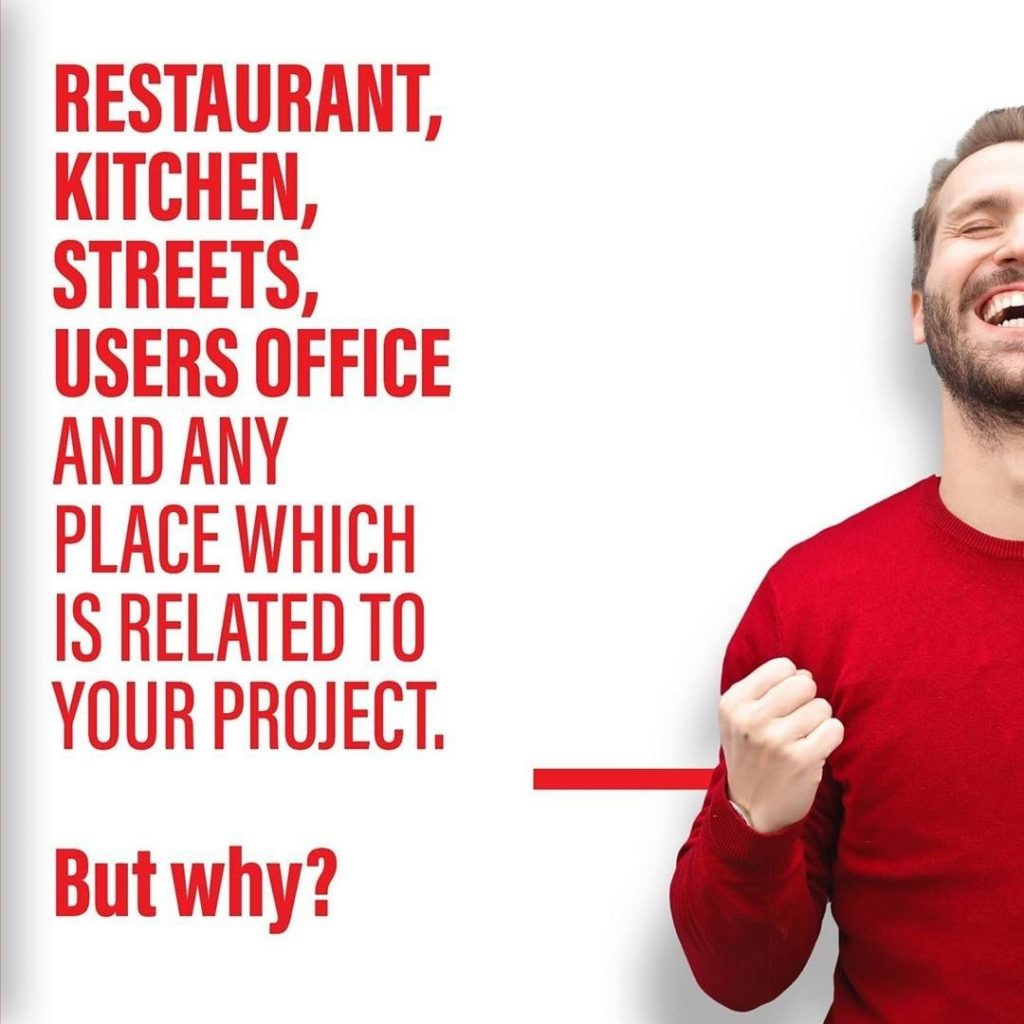 Restourant, kithen, streets, users office and any place which is related to your project.  But why?