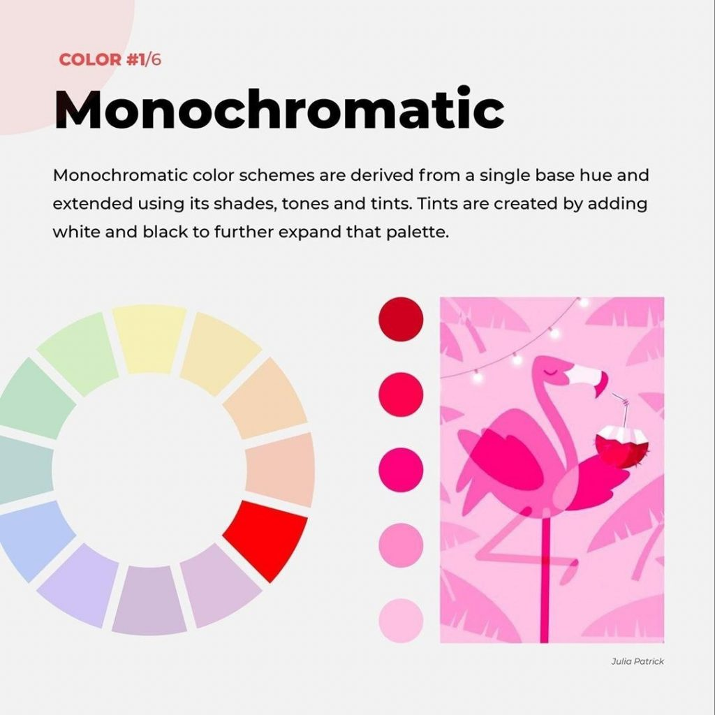 Monochromatic  Monochromatic color schemes are derived from a single base hue and extended using its shades, tones and tints. Tints are created by adding white and black to further expand that palette.