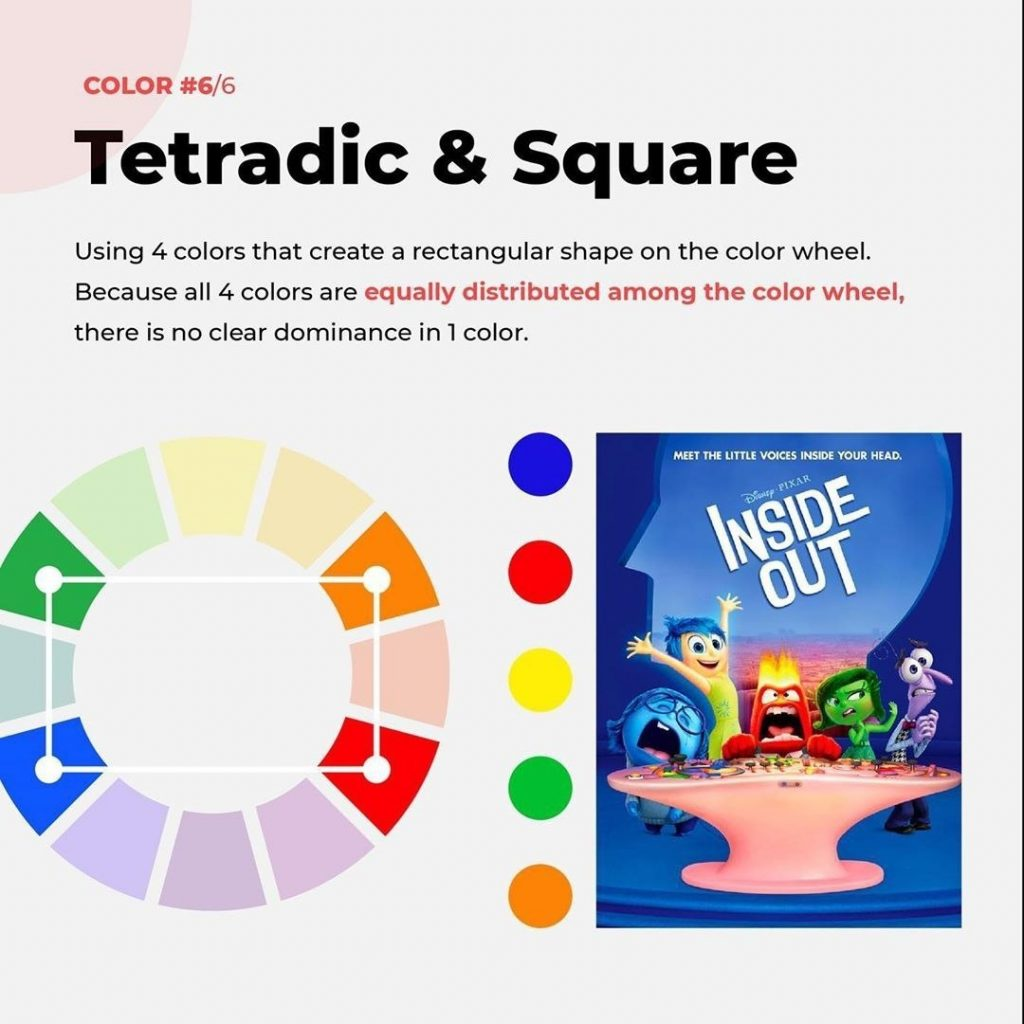 Tetradic & Square  Using 4 colors that create a rectangular shape on the color wheel. Because all 4 colors are equally distributed among the color wheel, there is no clear dominance in 1 color.