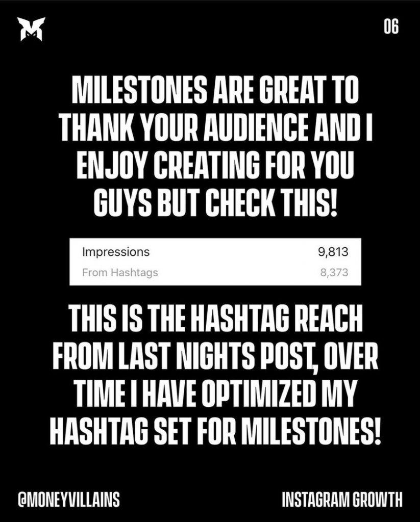 Milestones are great to thank audience and i enjoy creating for you guys but check thes!  This is the hashtag reach from last nights post, over time i have optimized my hashtag set for milestones!