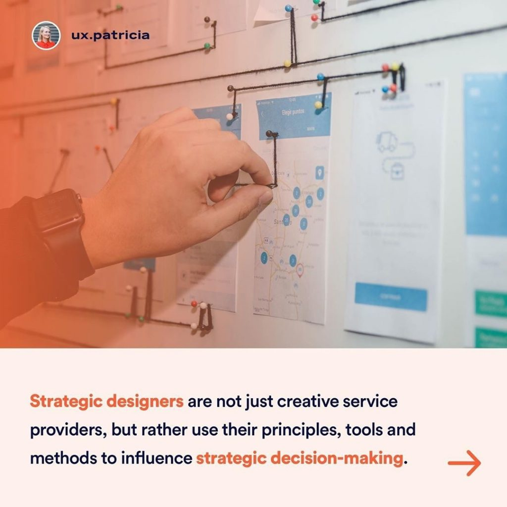 Strategic designers are not just creative service providers, but rather use their principles, their tools, their methods to influence strategic decision-making.