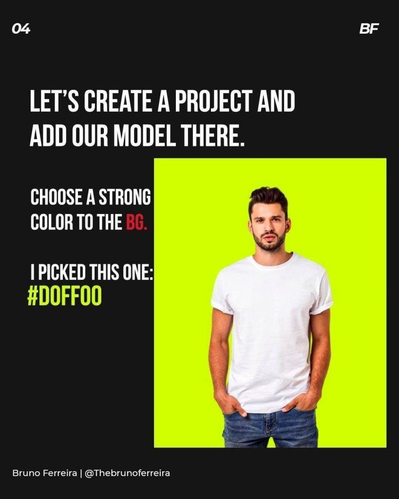 Let's create a project and add our model there.  Choose a strong color to the i picked this one: #doffoo
