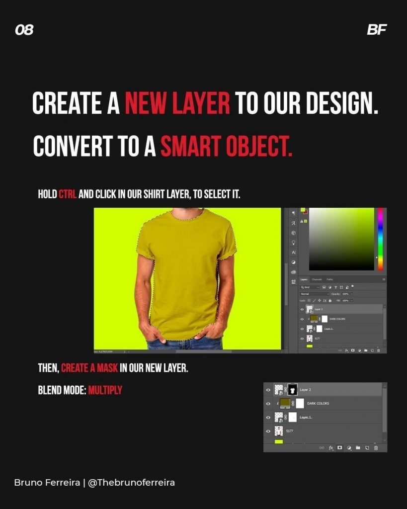 Create a lew layek to our design. Convert to a smart object.  Hold and click in our shirt layer to select it  Then, create a mask in our new layer.  Blend mode: multiply