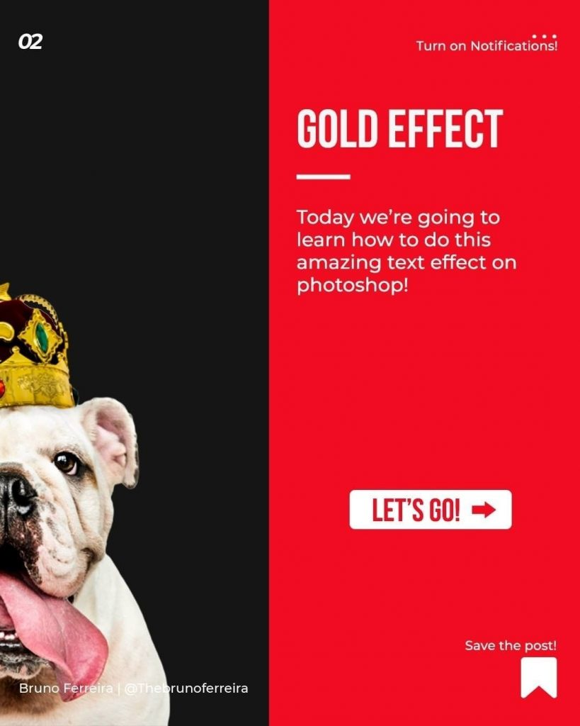 Gold effect  Today we're going to learn how to do this amazing text effect on photoshop!  Let's go!