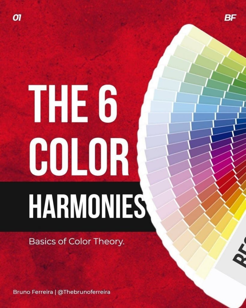 The 6 Color Harmonies. Basic of color theory