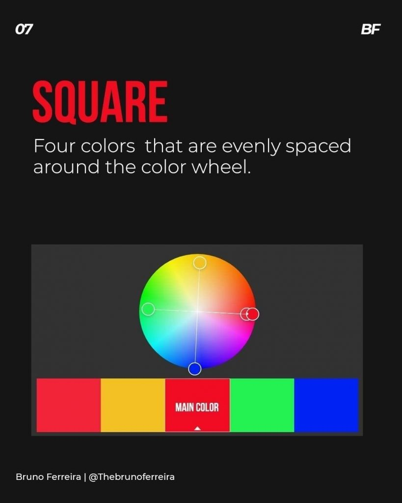 Square  Four colors that are evenly spaced around the color wheel.