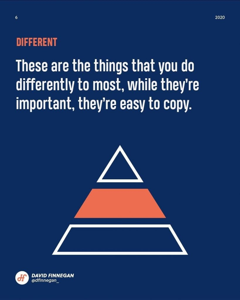 Different  These are the things that you do differently to most, while they're important, they're easy to copy.