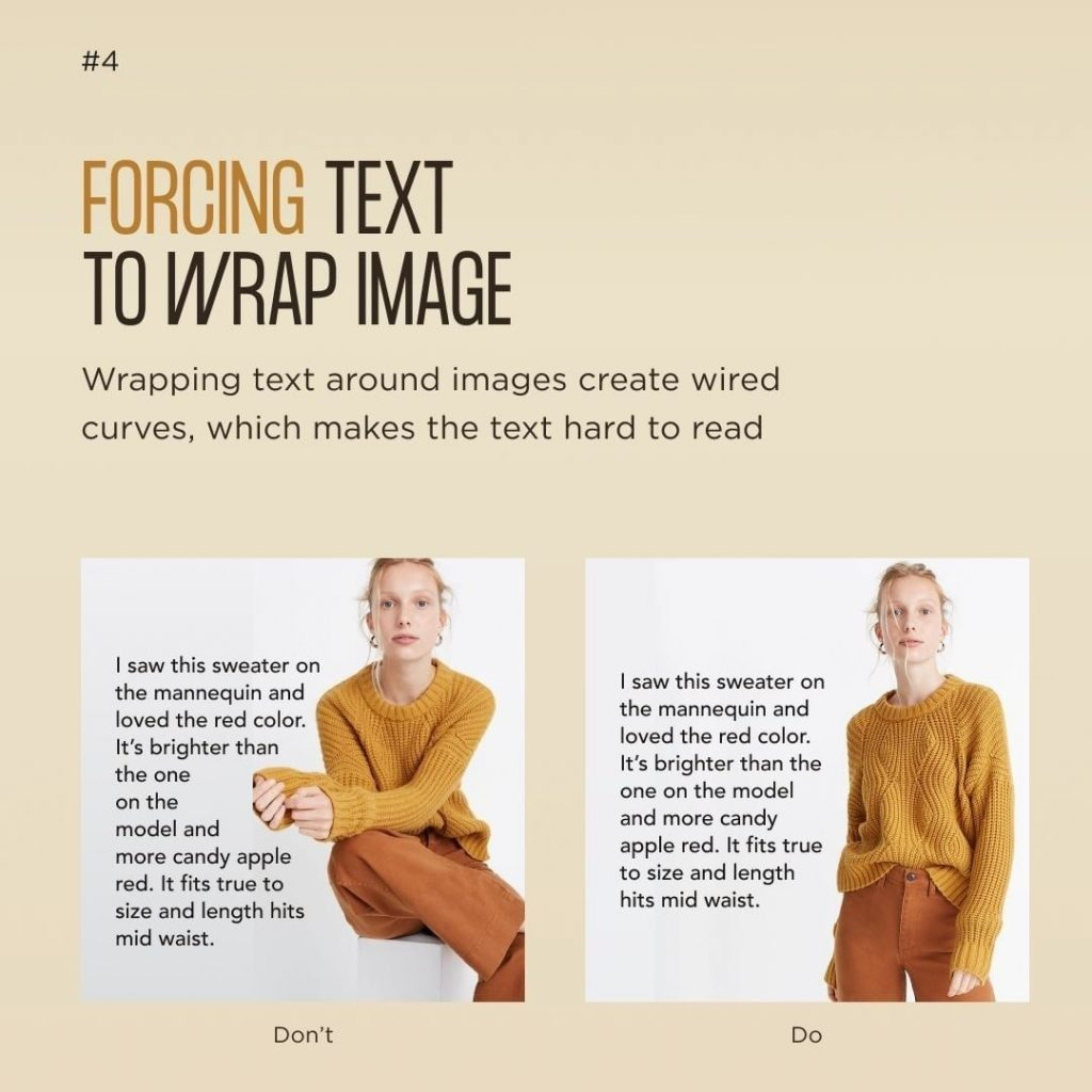 Forcing text to wrap image  Wrapping text around images create wired curves, which makes the text hard to read