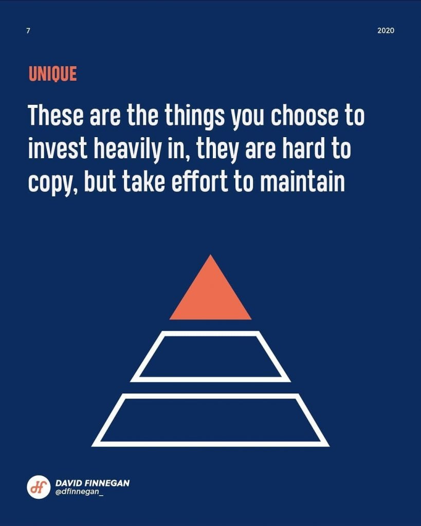 Unique  These are the things you choose to invest heavily in, they are hard to copy, but take effort to maintain